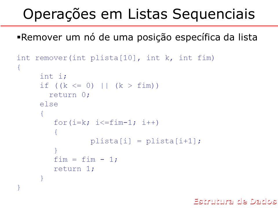 Estrutura de Dados Operações em Listas Sequenciais Remover um nó de uma posição específica da lista int remover(int plista[10], int k, int fim) { int