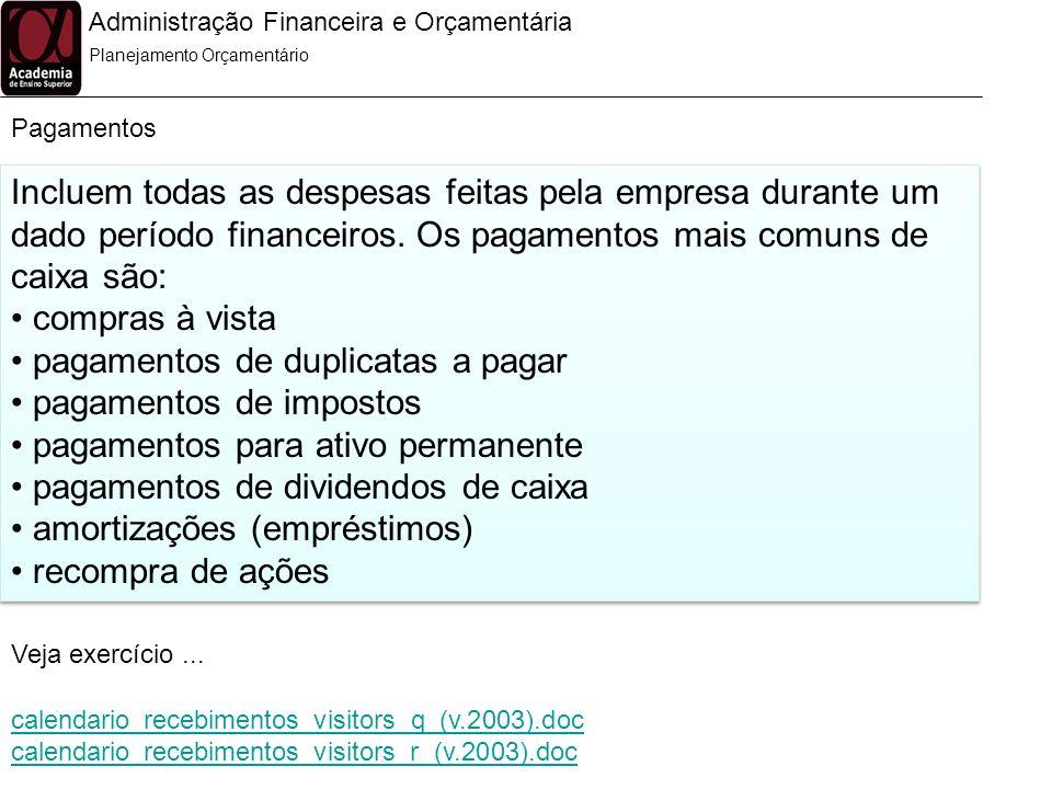 Administração Financeira e Orçamentária Pagamentos Planejamento Orçamentário Incluem todas as despesas feitas pela empresa durante um dado período fin