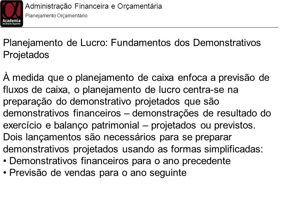 Administração Financeira e Orçamentária Planejamento Orçamentário Planejamento de Lucro: Fundamentos dos Demonstrativos Projetados À medida que o plan