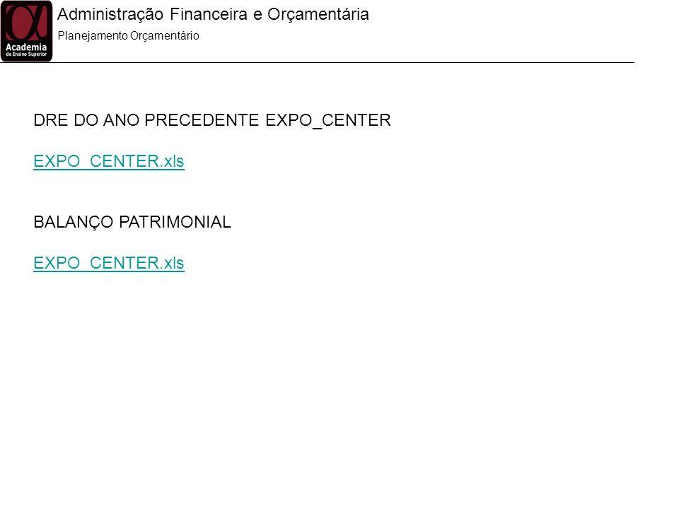 Administração Financeira e Orçamentária Planejamento Orçamentário DRE DO ANO PRECEDENTE EXPO_CENTER EXPO_CENTER.xls BALANÇO PATRIMONIAL EXPO_CENTER.xl