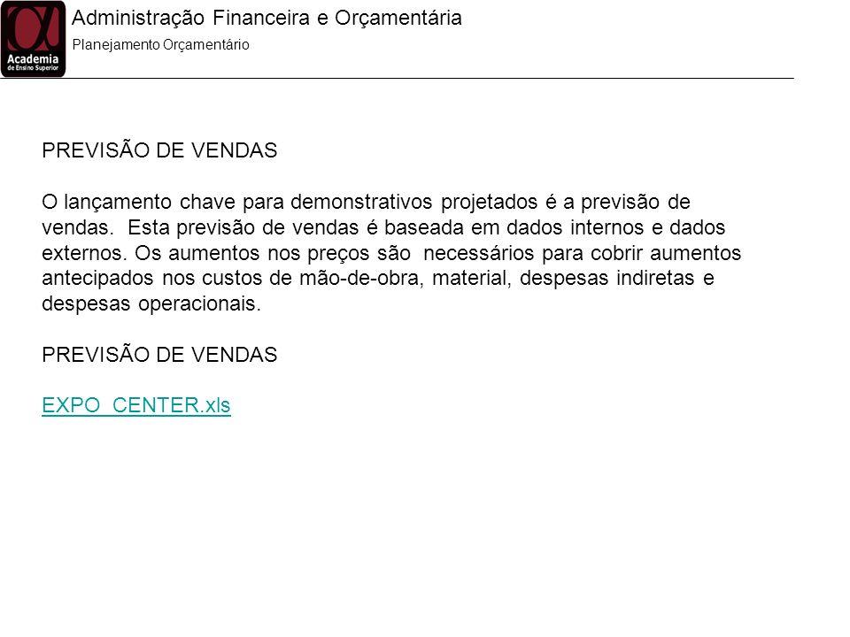 Administração Financeira e Orçamentária Planejamento Orçamentário PREVISÃO DE VENDAS O lançamento chave para demonstrativos projetados é a previsão de