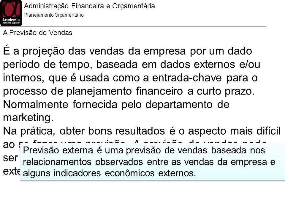 Administração Financeira e Orçamentária A Previsão de Vendas Planejamento Orçamentário É a projeção das vendas da empresa por um dado período de tempo