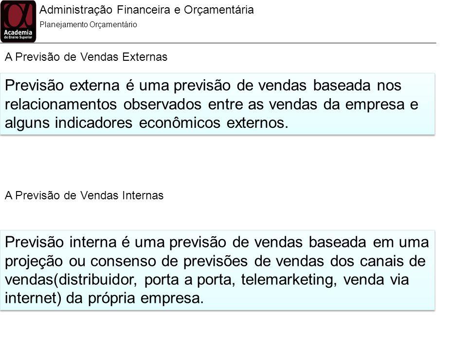 Administração Financeira e Orçamentária A Previsão de Vendas Externas Planejamento Orçamentário Previsão externa é uma previsão de vendas baseada nos