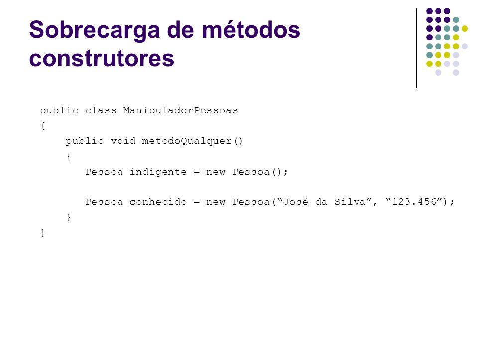 Sobrecarga de métodos construtores public class ManipuladorPessoas { public void metodoQualquer() { Pessoa indigente = new Pessoa(); Pessoa conhecido