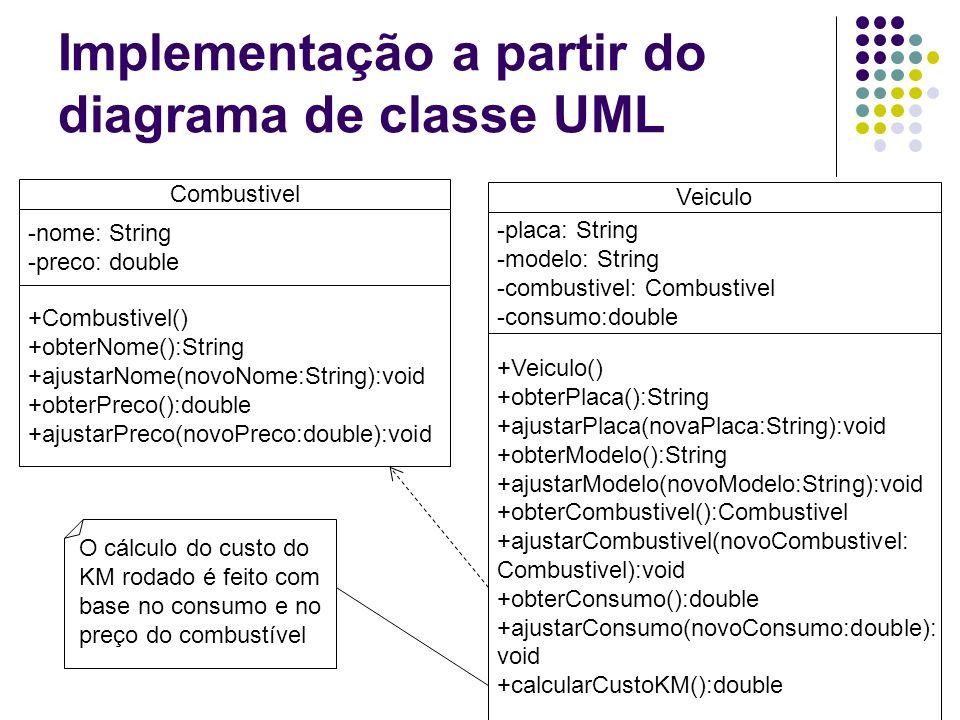 Implementação a partir do diagrama de classe UML Combustivel -nome: String -preco: double +Combustivel() +obterNome():String +ajustarNome(novoNome:Str