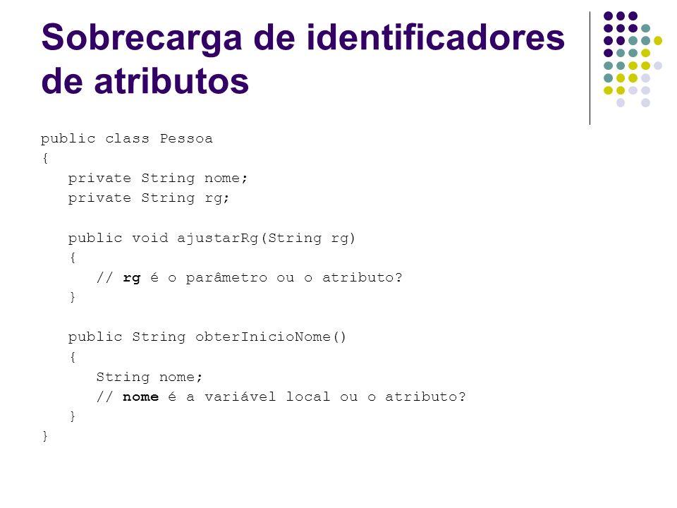 Sobrecarga de identificadores de atributos public class Pessoa { private String nome; private String rg; public void ajustarRg(String rg) { // rg é o