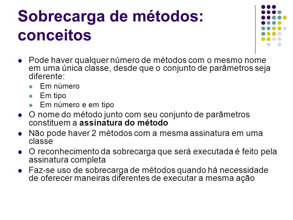 Sobrecarga de métodos: seleção de sobrecarga public class ManipuladorPessoas { public void metodoQualquer() { Pessoa p = new Pessoa(); String n10 = p.obterInicioNome(); String n20 = p.obterInicioNome(20); } }