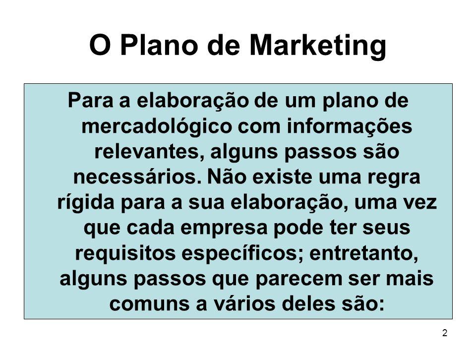 2 O Plano de Marketing Para a elaboração de um plano de mercadológico com informações relevantes, alguns passos são necessários. Não existe uma regra