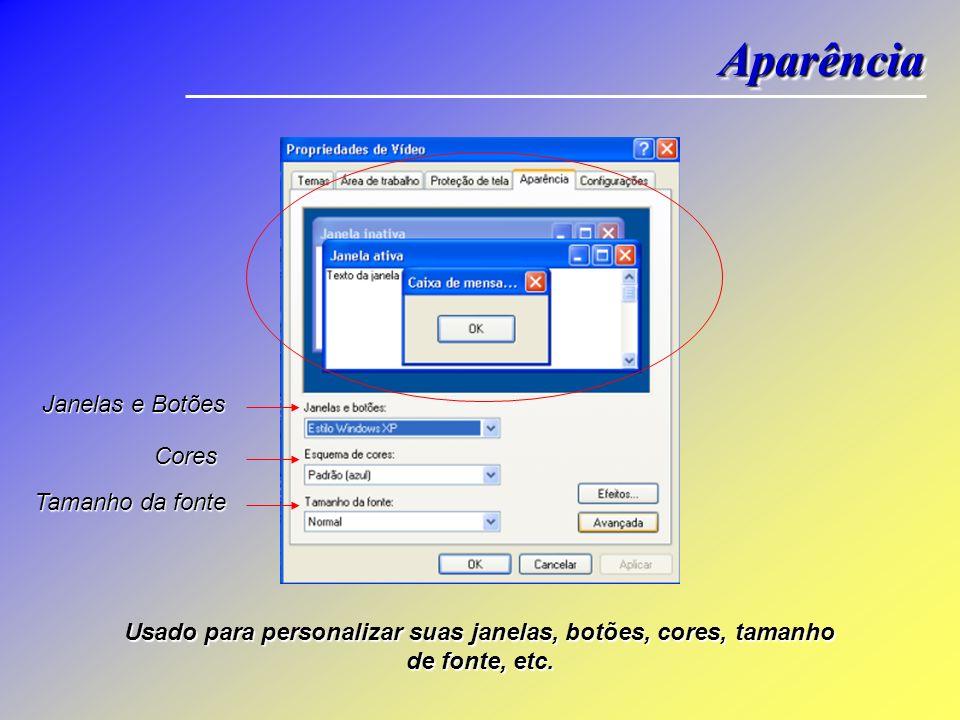 Seleciona Proteção Configurações Configurações de Energia Usado para alterar a proteção de tela, selecione texto 3D para personalizar o texto a ser ex