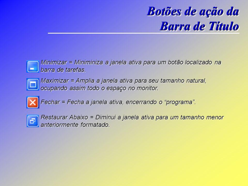 Janela do Windows Botões de Comando Barra de Titulo Barra de Menus Barra de Navegação Barra de Endereço Área de Visualização da Janela