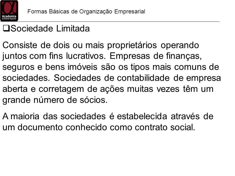Formas Básicas de Organização Empresarial Sociedade Limitada Consiste de dois ou mais proprietários operando juntos com fins lucrativos. Empresas de f