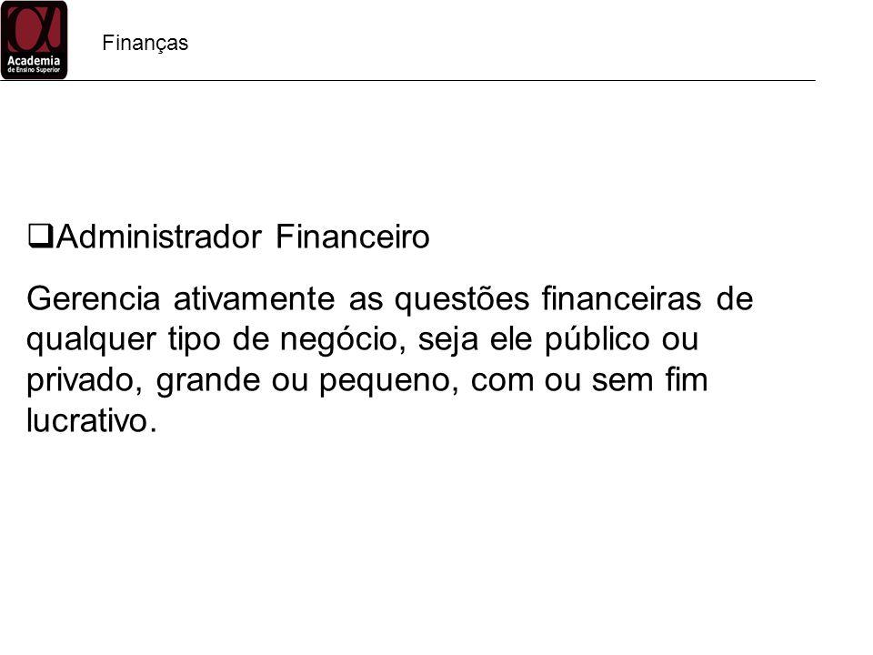 Finanças Administrador Financeiro Gerencia ativamente as questões financeiras de qualquer tipo de negócio, seja ele público ou privado, grande ou pequ