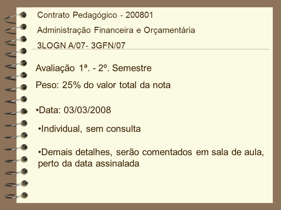Avaliação 1ª. - 2º. Semestre Peso: 25% do valor total da nota Data: 03/03/2008 Individual, sem consulta Demais detalhes, serão comentados em sala de a