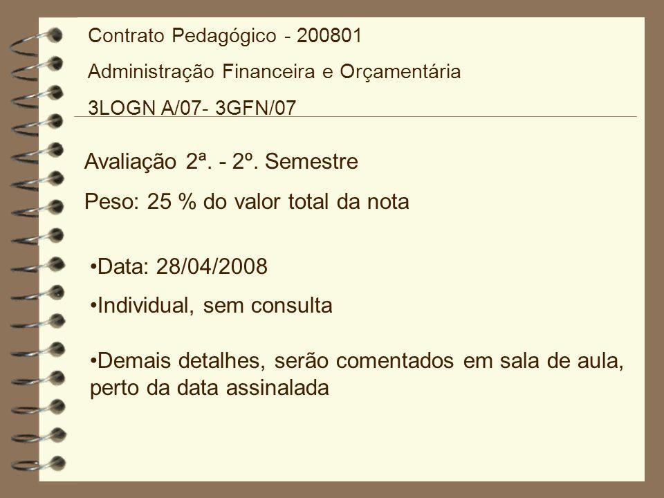 Avaliação 2ª. - 2º. Semestre Peso: 25 % do valor total da nota Data: 28/04/2008 Individual, sem consulta Demais detalhes, serão comentados em sala de