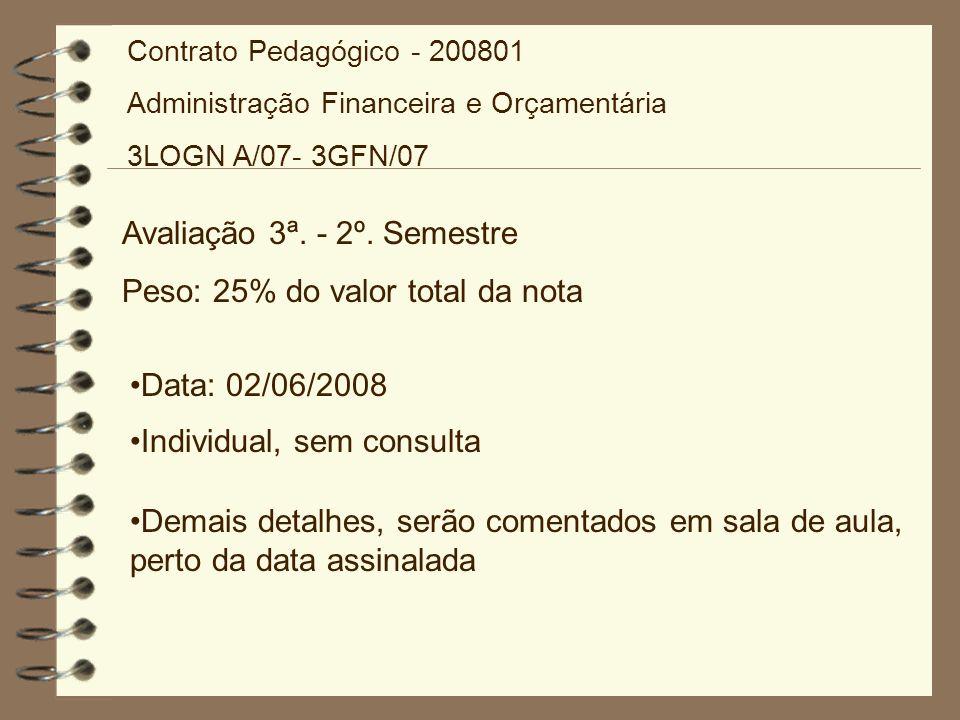 Avaliação 3ª. - 2º. Semestre Peso: 25% do valor total da nota Data: 02/06/2008 Individual, sem consulta Demais detalhes, serão comentados em sala de a