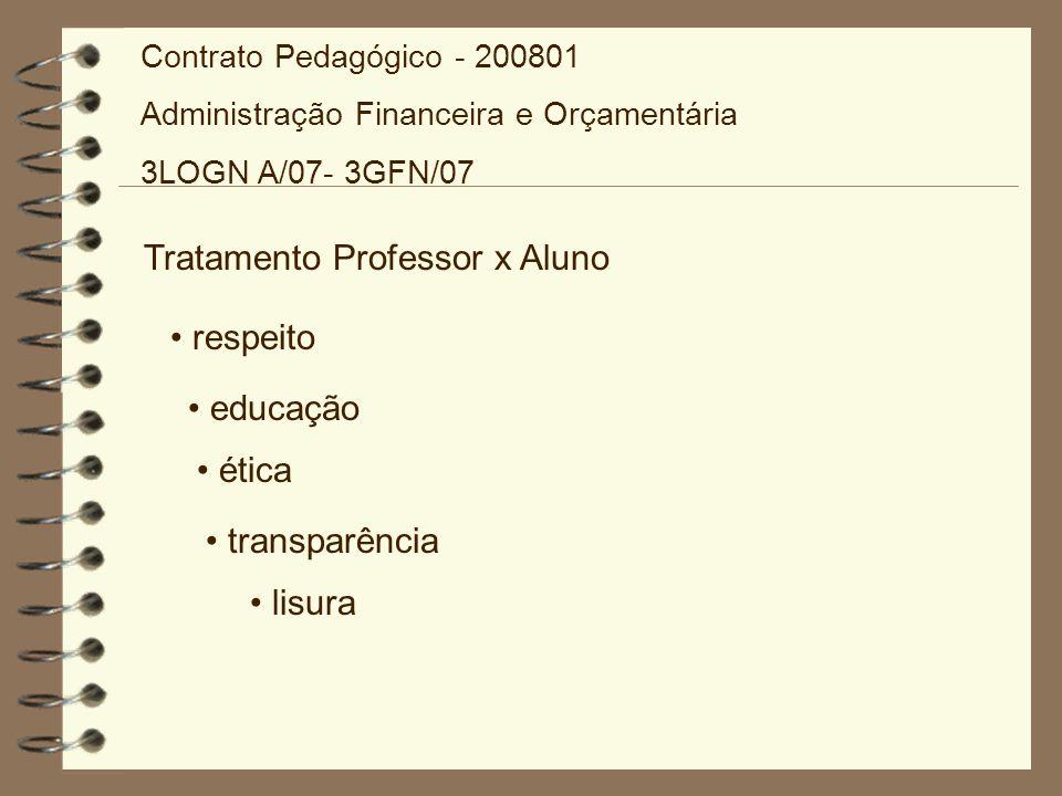 Tratamento Professor x Aluno respeito educação ética transparência lisura Contrato Pedagógico - 200801 Administração Financeira e Orçamentária 3LOGN A