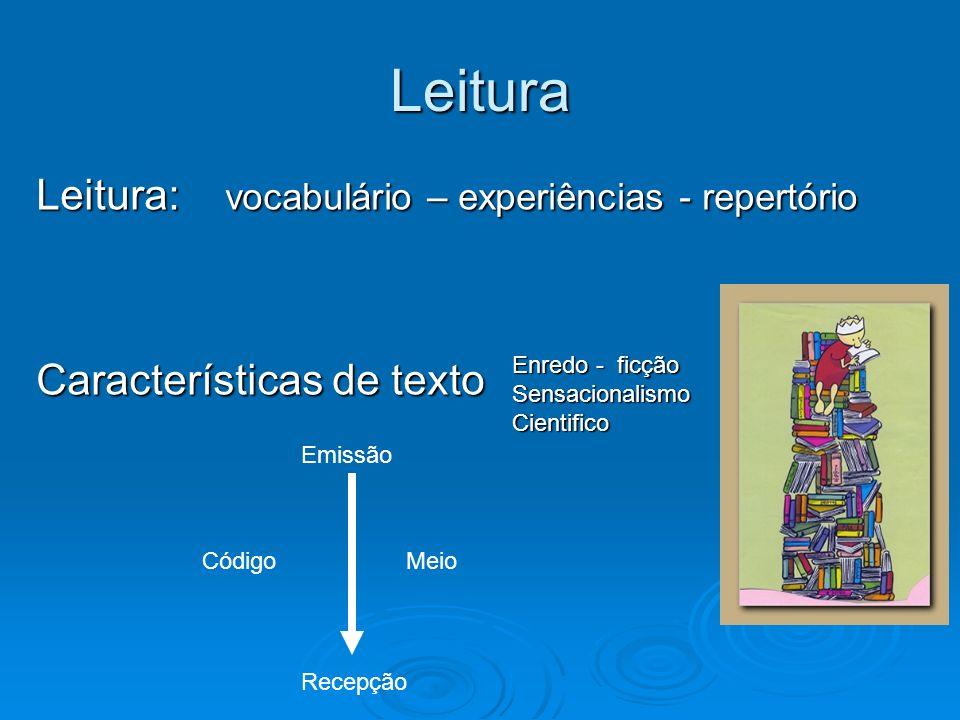 Leitura Leitura: vocabulário – experiências - repertório Características de texto Enredo - ficção SensacionalismoCientifico Emissão Recepção CódigoMei