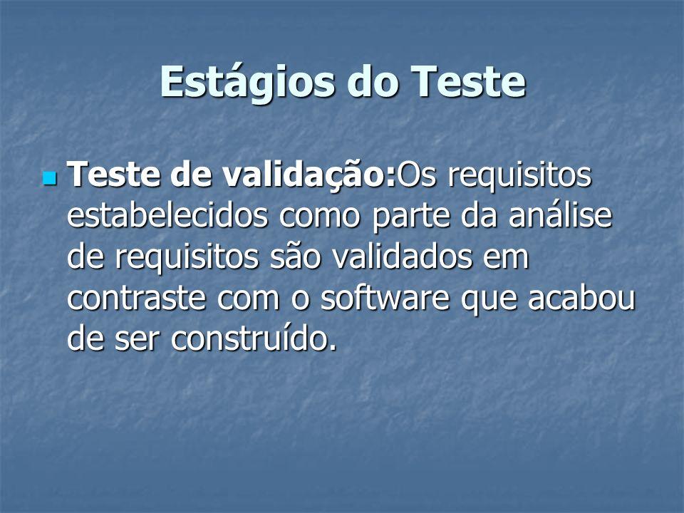 Estágios do Teste Teste de validação:Os requisitos estabelecidos como parte da análise de requisitos são validados em contraste com o software que aca