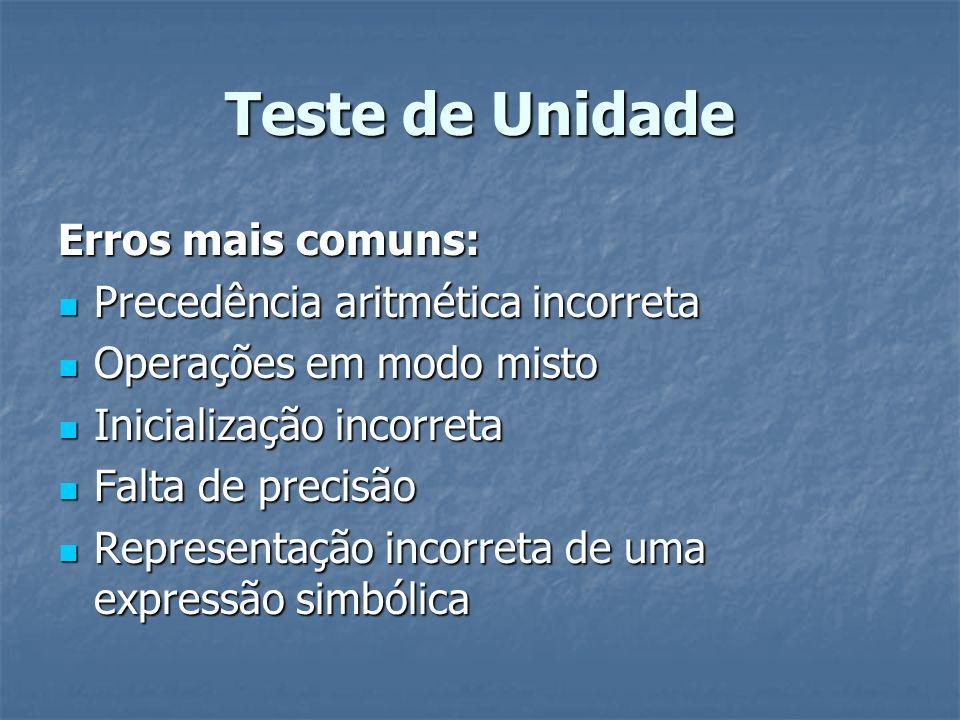 Teste de Unidade Erros mais comuns: Precedência aritmética incorreta Precedência aritmética incorreta Operações em modo misto Operações em modo misto