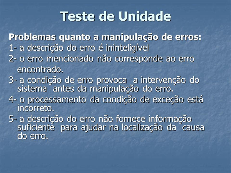 Teste de Unidade Problemas quanto a manipulação de erros: 1- a descrição do erro é ininteligível 2- o erro mencionado não corresponde ao erro encontra