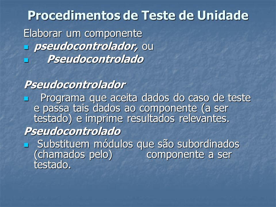 Procedimentos de Teste de Unidade Elaborar um componente pseudocontrolador, ou pseudocontrolador, ou Pseudocontrolado PseudocontroladoPseudocontrolado