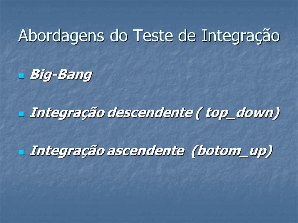 Abordagens do Teste de Integração Big-Bang Big-Bang Integração descendente ( top_down) Integração descendente ( top_down) Integração ascendente (botom