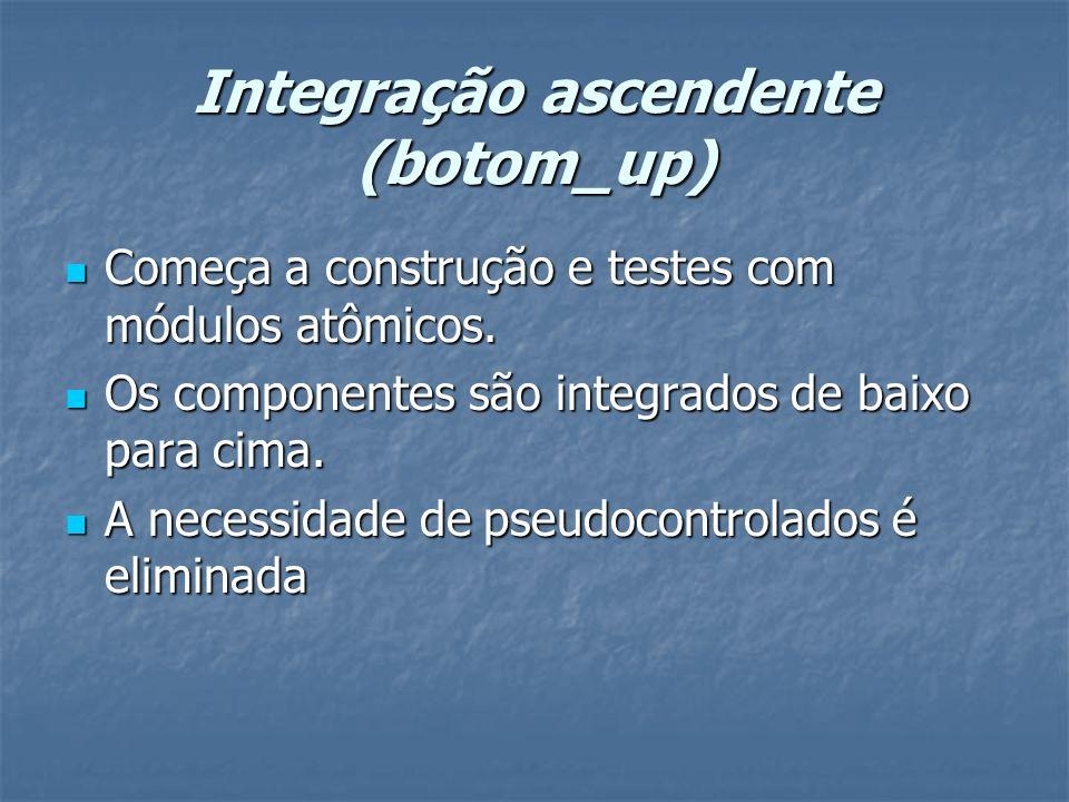 Integração ascendente (botom_up) Começa a construção e testes com módulos atômicos. Começa a construção e testes com módulos atômicos. Os componentes