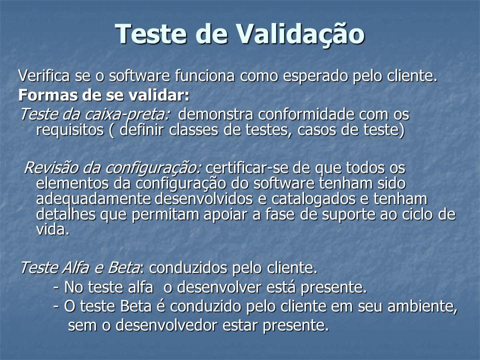 Teste de Validação Verifica se o software funciona como esperado pelo cliente. Formas de se validar: Teste da caixa-preta: demonstra conformidade com