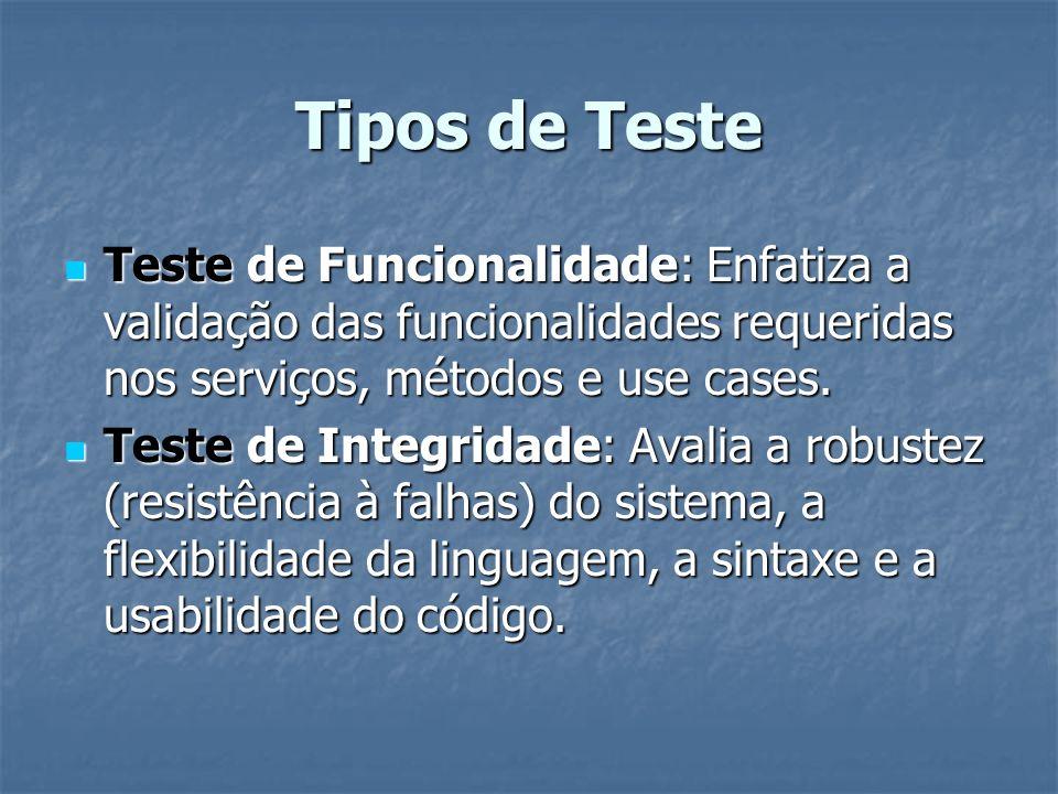 Tipos de Teste Teste de Funcionalidade: Enfatiza a validação das funcionalidades requeridas nos serviços, métodos e use cases. Teste de Funcionalidade