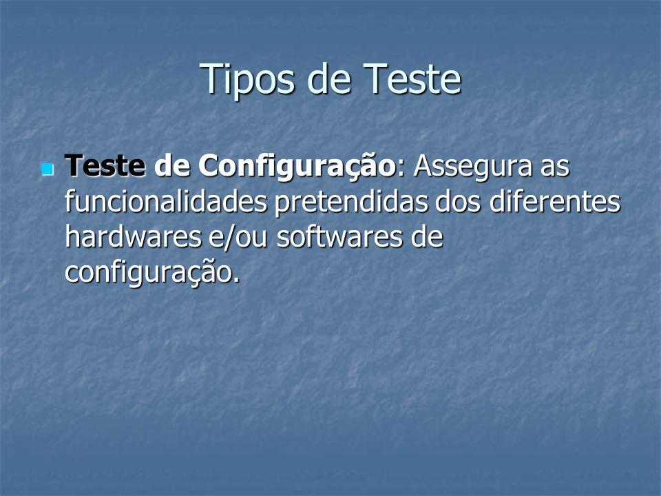Tipos de Teste Teste de Configuração: Assegura as funcionalidades pretendidas dos diferentes hardwares e/ou softwares de configuração. Teste de Config