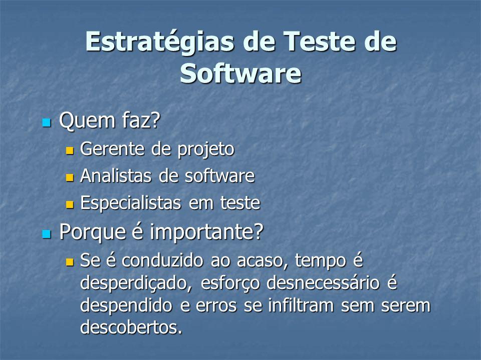 Estratégias de Teste de Software Quem faz? Quem faz? Gerente de projeto Gerente de projeto Analistas de software Analistas de software Especialistas e