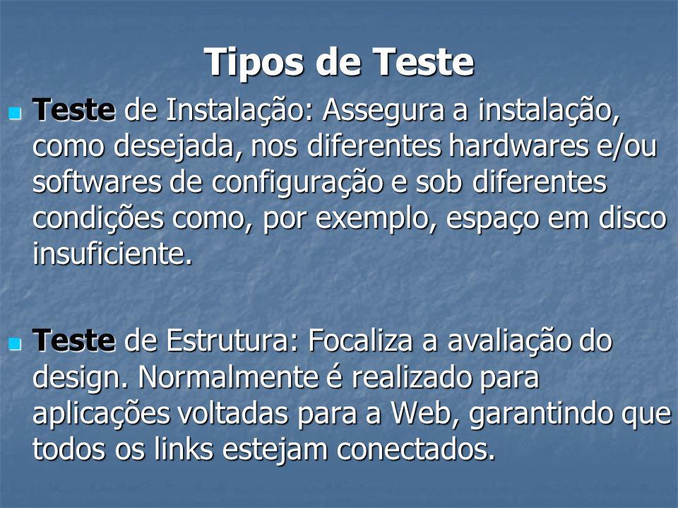 Tipos de Teste Teste de Instalação: Assegura a instalação, como desejada, nos diferentes hardwares e/ou softwares de configuração e sob diferentes con