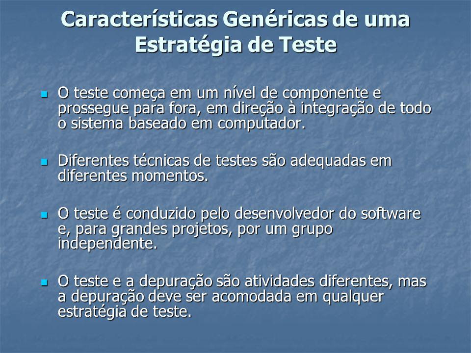 Características Genéricas de uma Estratégia de Teste O teste começa em um nível de componente e prossegue para fora, em direção à integração de todo o