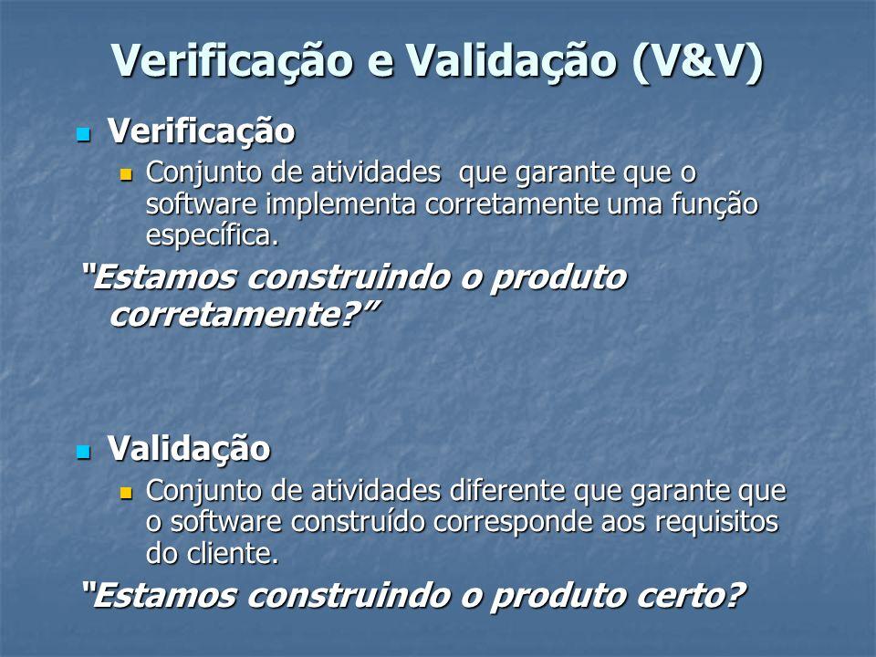 Verificação e Validação (V&V) verificação e validação abrangem um amplo conjunto verificação e validação abrangem um amplo conjunto de atividades SQA( garantia da qualidade de SW), de atividades SQA( garantia da qualidade de SW), que inclui: Revisões técnicas formais; que inclui: Revisões técnicas formais; Auditoria de qualidade; Auditoria de qualidade; Monitoramento de desempenho, Monitoramento de desempenho, Simulação, Simulação, Estudo de viabilidade, Estudo de viabilidade, Revisões, Revisões, Análises e Análises e Testes.