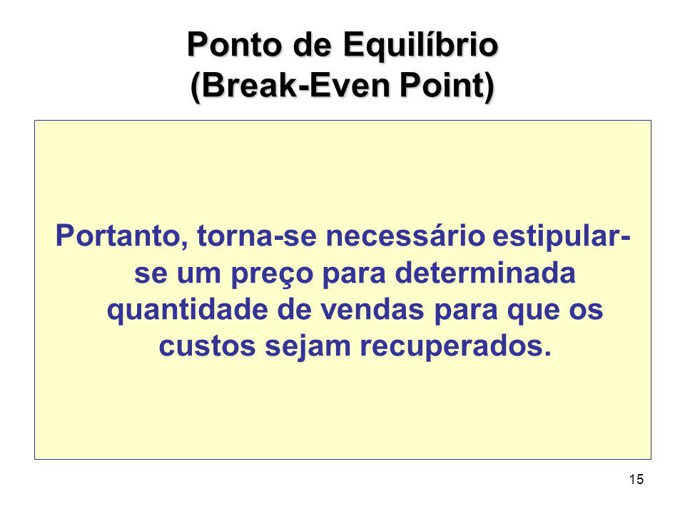 15 Ponto de Equilíbrio (Break-Even Point) Portanto, torna-se necessário estipular- se um preço para determinada quantidade de vendas para que os custo