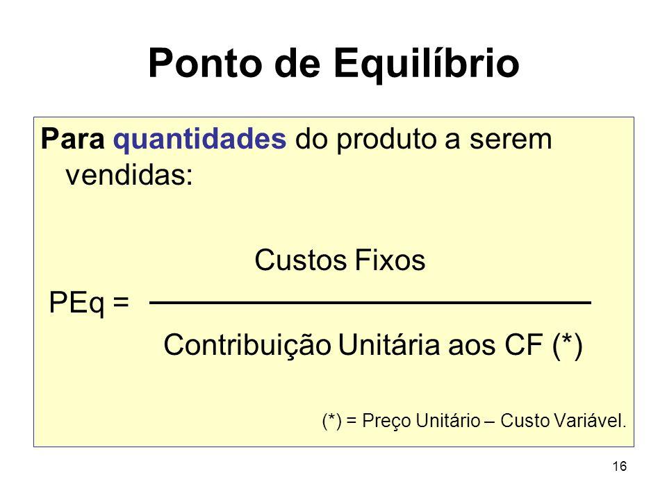 16 Ponto de Equilíbrio Para quantidades do produto a serem vendidas: Custos Fixos PEq = Contribuição Unitária aos CF (*) (*) = Preço Unitário – Custo