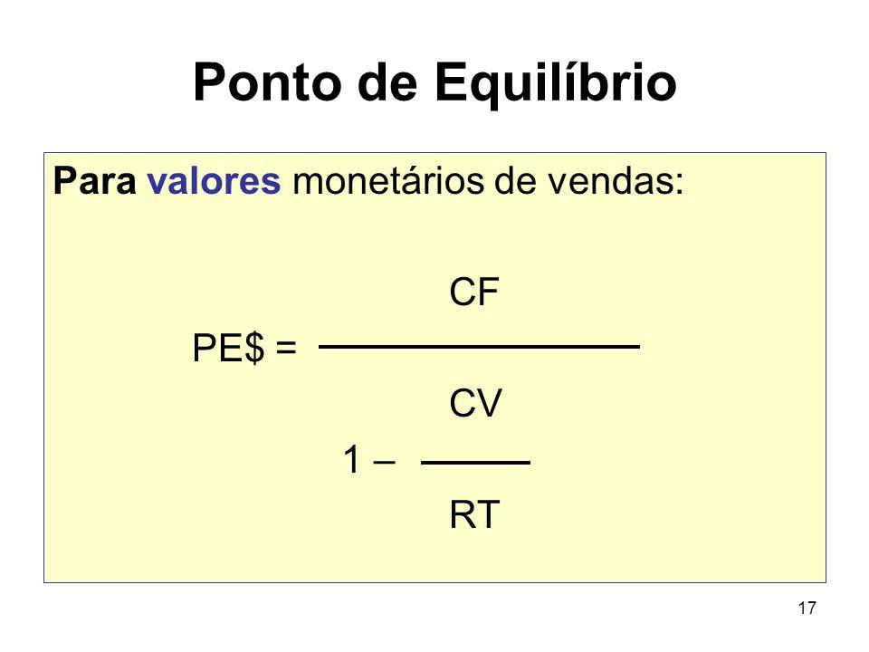 17 Ponto de Equilíbrio Para valores monetários de vendas: CF PE$ = CV 1 – RT
