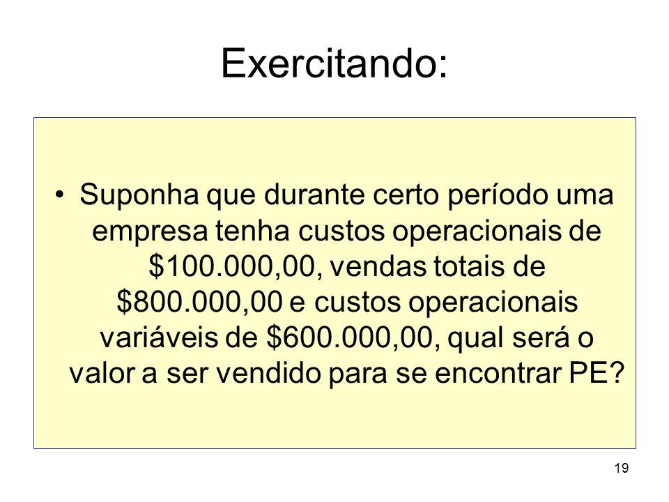 19 Exercitando: Suponha que durante certo período uma empresa tenha custos operacionais de $100.000,00, vendas totais de $800.000,00 e custos operacio