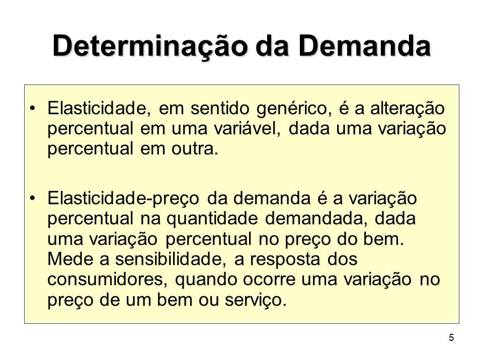 5 Determinação da Demanda Elasticidade, em sentido genérico, é a alteração percentual em uma variável, dada uma variação percentual em outra. Elastici