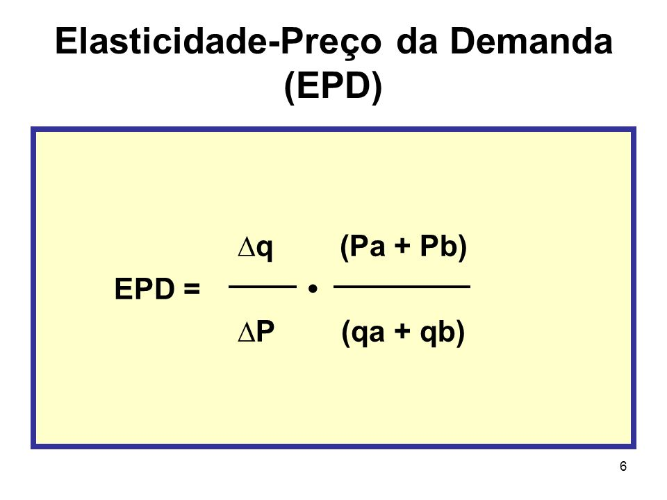 6 Elasticidade-Preço da Demanda (EPD) q (Pa + Pb) EPD = P (qa + qb)
