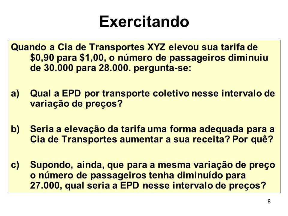 8 Exercitando Quando a Cia de Transportes XYZ elevou sua tarifa de $0,90 para $1,00, o número de passageiros diminuiu de 30.000 para 28.000. pergunta-