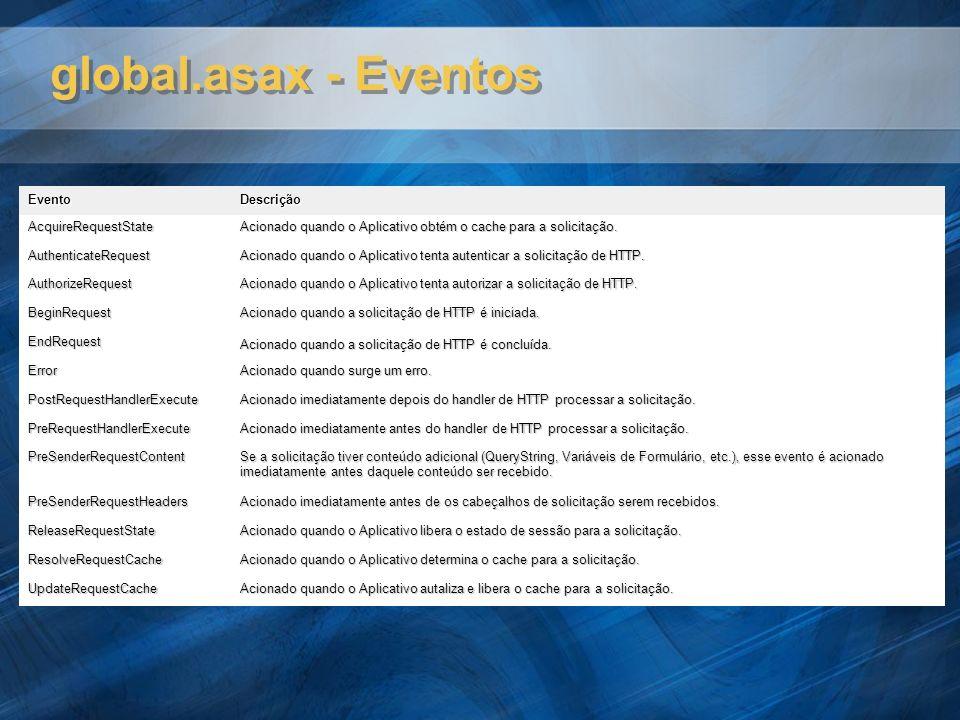 global.asax - Eventos EventoDescrição AcquireRequestState Acionado quando o Aplicativo obtém o cache para a solicitação. AuthenticateRequest Acionado