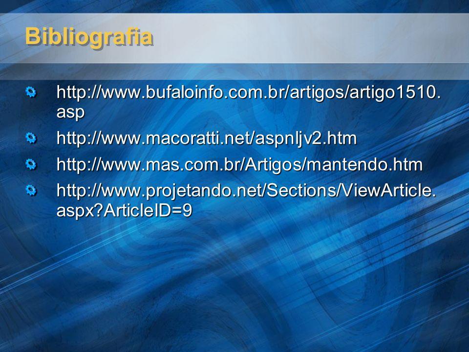 Bibliografia http://www.bufaloinfo.com.br/artigos/artigo1510. asp http://www.macoratti.net/aspnljv2.htmhttp://www.mas.com.br/Artigos/mantendo.htm http