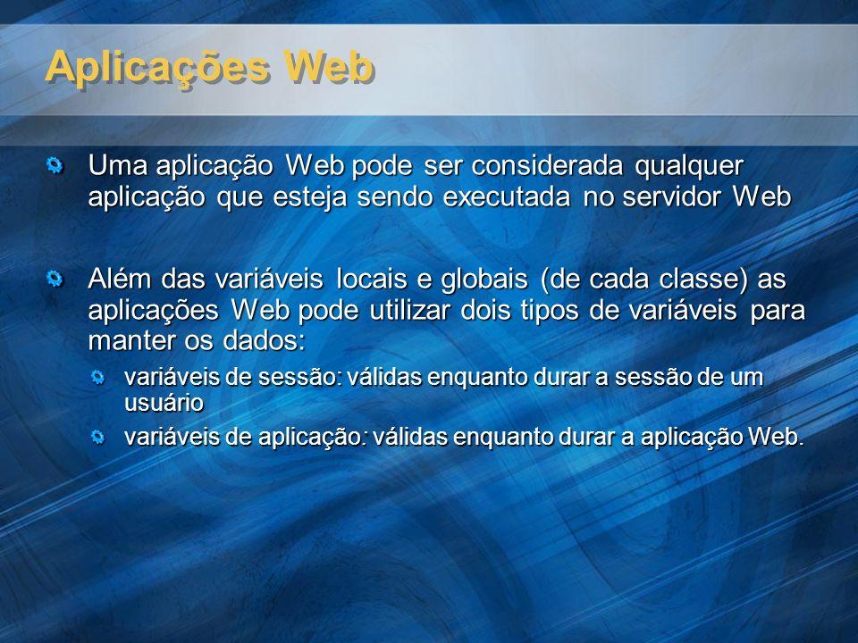 Aplicações Web Uma aplicação Web pode ser considerada qualquer aplicação que esteja sendo executada no servidor Web Além das variáveis locais e globai