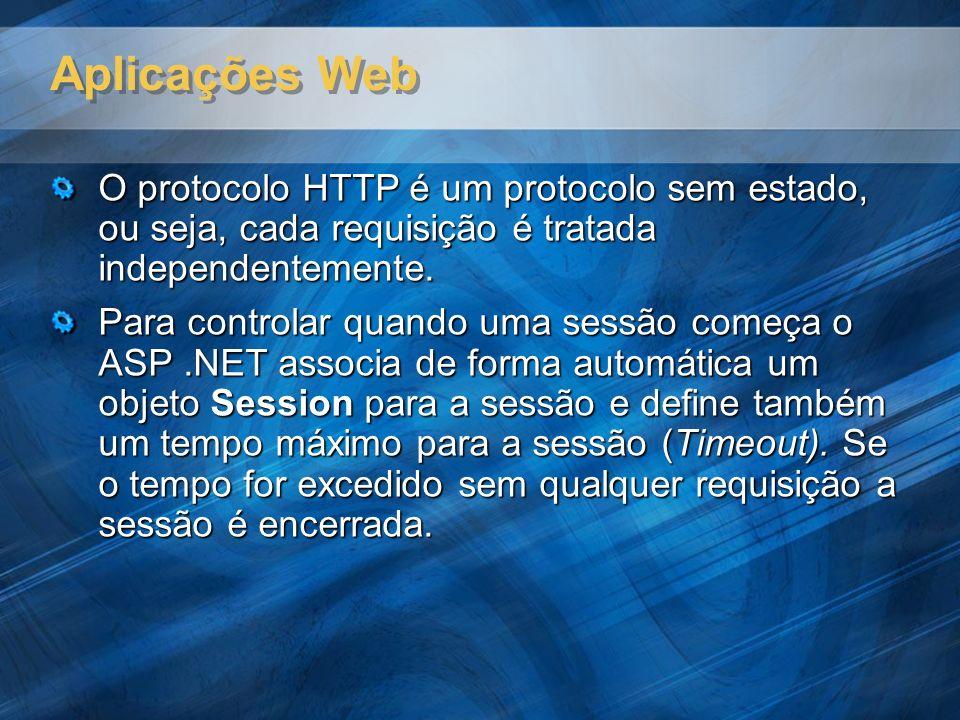 Aplicações Web O protocolo HTTP é um protocolo sem estado, ou seja, cada requisição é tratada independentemente. Para controlar quando uma sessão come