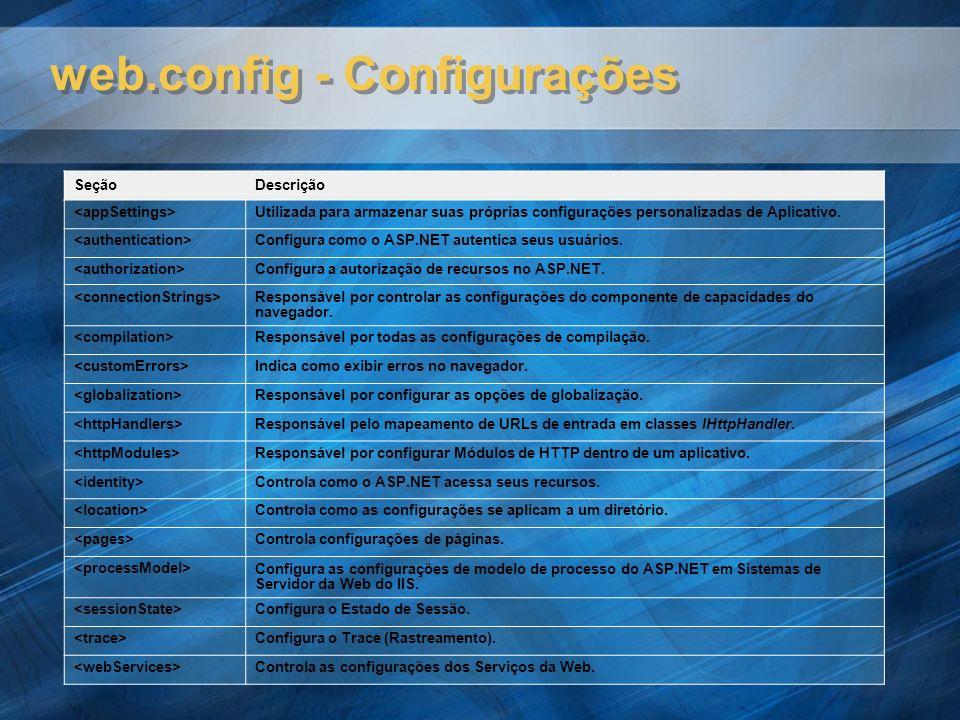 web.config - Configurações SeçãoDescrição Utilizada para armazenar suas próprias configurações personalizadas de Aplicativo. Configura como o ASP.NET