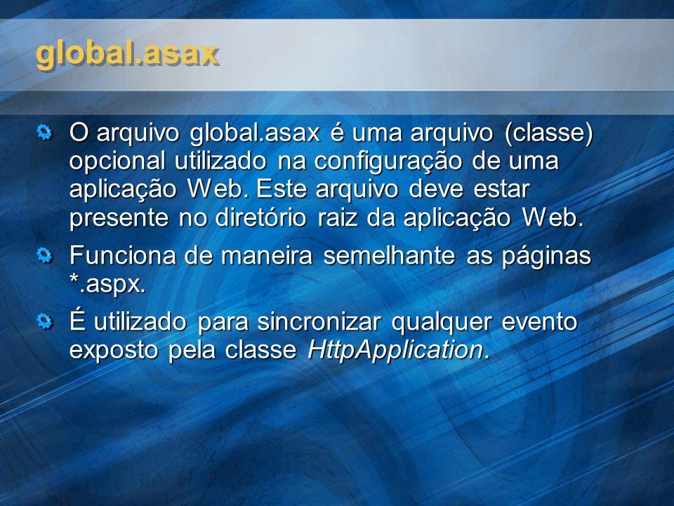 global.asax O arquivo global.asax é uma arquivo (classe) opcional utilizado na configuração de uma aplicação Web. Este arquivo deve estar presente no