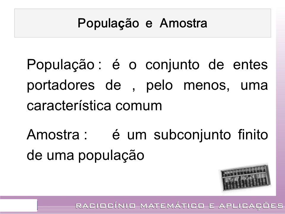 Popula ç ão e Amostra Popula ç ão : é o conjunto de entes portadores de, pelo menos, uma caracter í stica comum Amostra : é um subconjunto finito de u