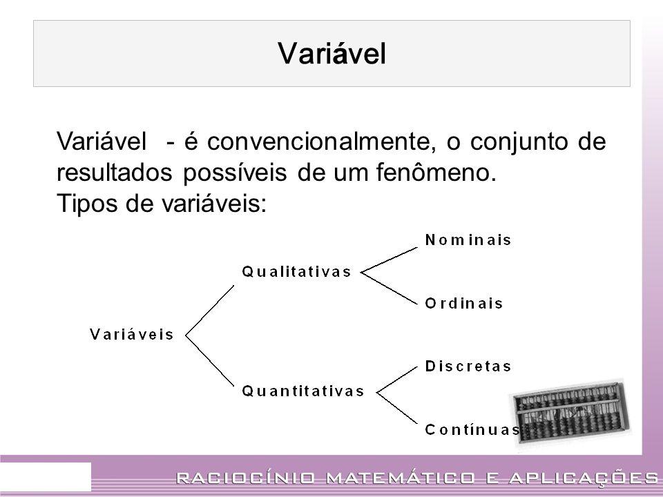 Vari á vel Variável - é convencionalmente, o conjunto de resultados possíveis de um fenômeno. Tipos de variáveis: