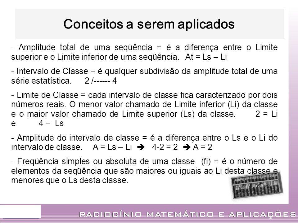 Conceitos a serem aplicados - Amplitude total de uma seqüência = é a diferença entre o Limite superior e o Limite inferior de uma seqüência. At = Ls –